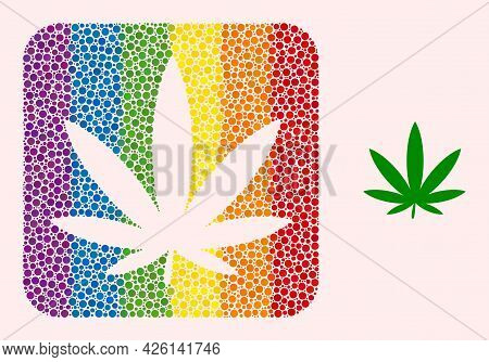 Dot Mosaic Cannabis Subtracted Icon For Lgbt. Rainbow Colored Rounded Rectangle Collage Is Around Ca