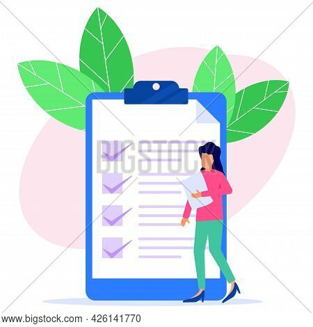 The Business Woman Checks And Points To The Direction Marked With The Checklist On Chalkboard Paper.
