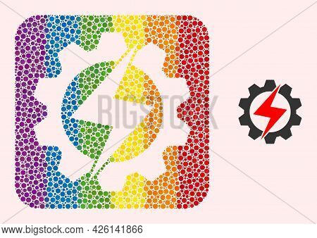 Dotted Mosaic Energy Industry Hole Icon For Lgbt. Colorful Rounded Square Mosaic Is Around Energy In