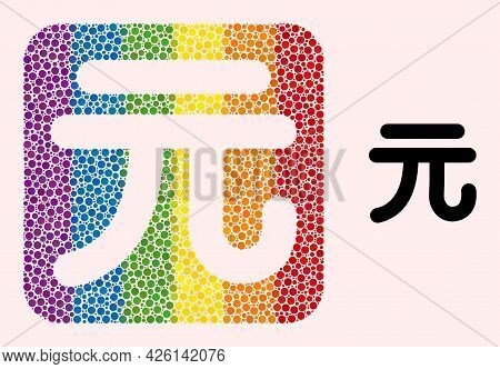 Dotted Mosaic Chinese Yuan Currency Subtracted Pictogram For Lgbt. Rainbow Colored Rounded Square Mo