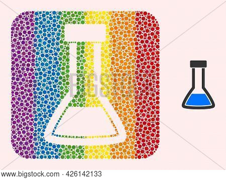 Dotted Mosaic Closed Retort Hole Icon For Lgbt. Multicolored Rounded Rectangle Mosaic Is Around Clos