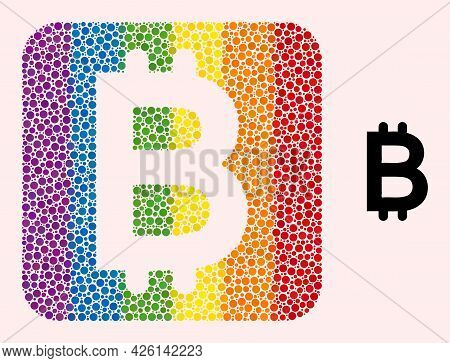 Dotted Mosaic Bitcoin Hole Icon For Lgbt. Color Rounded Square Mosaic Is Around Bitcoin Hole. Lgbt R