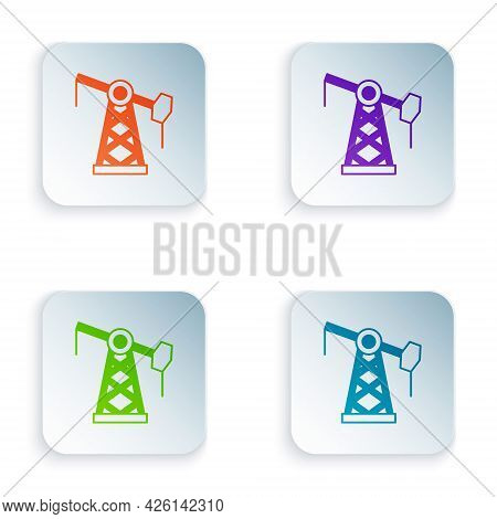 Color Oil Pump Or Pump Jack Icon Isolated On White Background. Oil Rig. Set Colorful Icons In Square