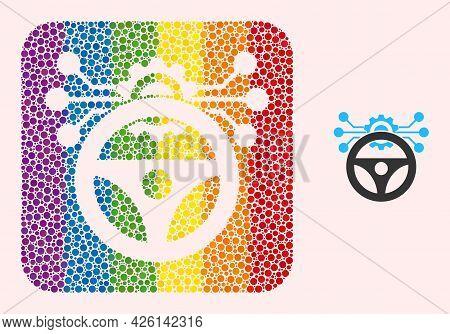 Dot Mosaic Car Autopilot Scheme Subtracted Pictogram For Lgbt. Multicolored Rounded Rectangle Mosaic