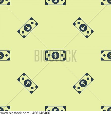 Blue Stacks Paper Money Cash Icon Isolated Seamless Pattern On Yellow Background. Money Banknotes St