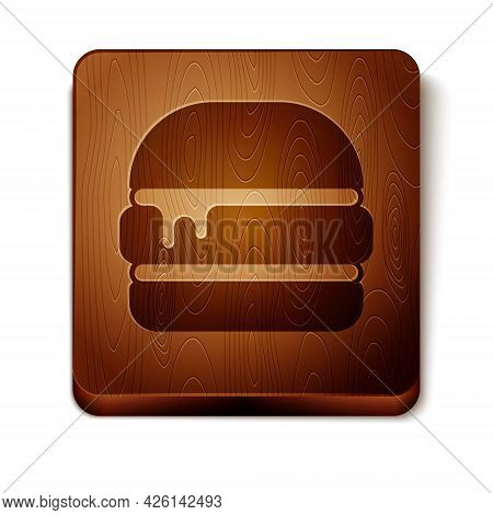 Brown Burger Icon Isolated On White Background. Hamburger Icon. Cheeseburger Sandwich Sign. Fast Foo