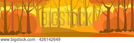 Forest Trees Illustration. Dense Wild Plants With Tall, Branched Trunks. Panorama. Autumn Orange Lan