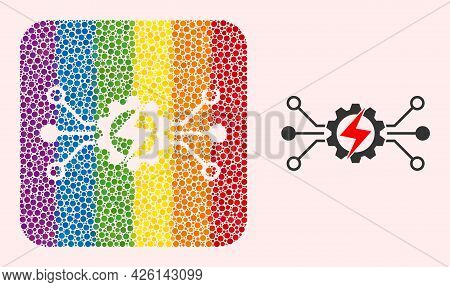 Dot Mosaic Energy Hitech Hole Pictogram For Lgbt. Colored Rounded Square Mosaic Is Around Energy Hit