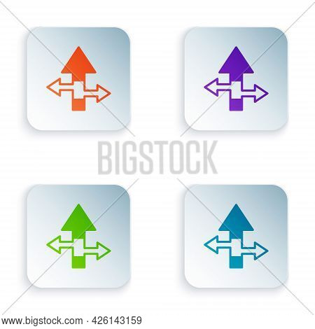 Color Arrow Icon Isolated On White Background. Direction Arrowhead Symbol. Navigation Pointer Sign.