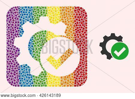 Dot Mosaic Apply Settings Gear Stencil Pictogram For Lgbt. Multicolored Rounded Rectangle Mosaic Is