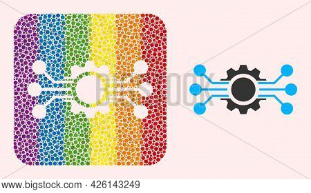 Dotted Mosaic Digital Machine Hole Icon For Lgbt. Rainbow Colored Rounded Square Mosaic Is Around Di