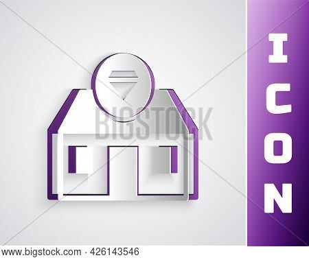 Paper Cut Front Facade Building Jewelry Store Icon Isolated On Grey Background. Paper Art Style. Vec