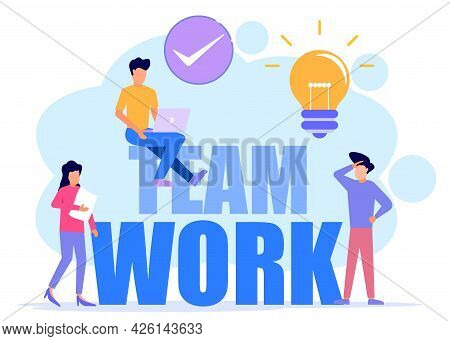 Vector Illustration Of A Business Concept, Business People Involved In Teamwork, Building A Business