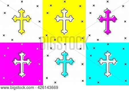 Set Christian Cross Icon Isolated On Color Background. Church Cross. Vector