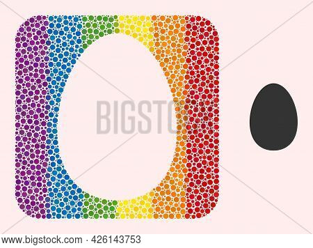 Dot Mosaic Egg Stencil Icon For Lgbt. Rainbow Colored Rounded Square Mosaic Is Around Egg Carved Sha