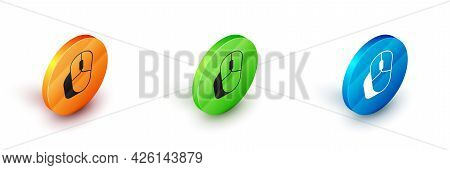 Isometric Computer Mouse Icon Isolated On White Background. Optical With Wheel Symbol. Circle Button