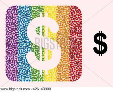 Dotted Mosaic Dollar Hole Icon For Lgbt. Color Rounded Rectangle Mosaic Is Around Dollar Hole. Lgbt