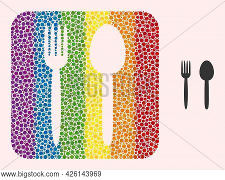 Dotted Mosaic Food Utensil Carved Pictogram For Lgbt. Rainbow Colored Rounded Square Mosaic Is Aroun