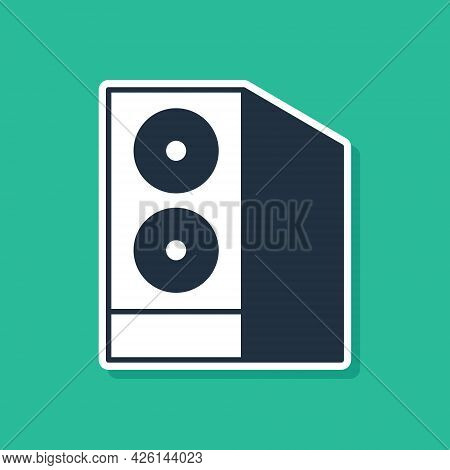 Blue Case Of Computer Icon Isolated On Green Background. Computer Server. Workstation. Vector