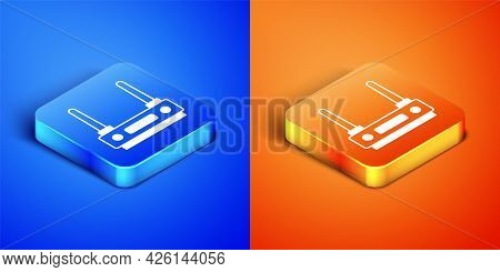 Isometric Router And Wi-fi Signal Icon Isolated On Blue And Orange Background. Wireless Ethernet Mod