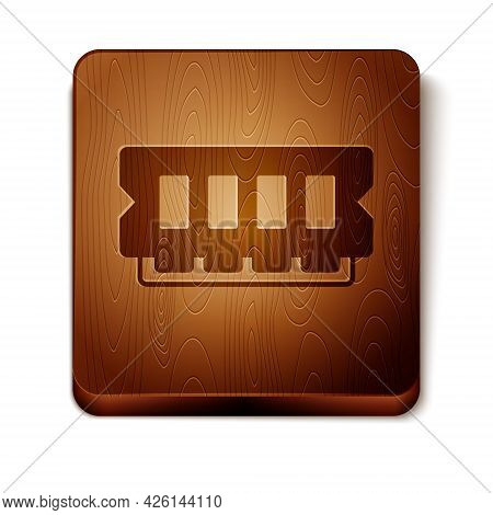 Brown Ram, Random Access Memory Icon Isolated On White Background. Wooden Square Button. Vector