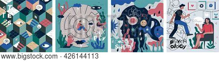 Psychology, Stress, Anxiety And Depression Abstract Banner Set. Visualization Psychedelic Human Thin