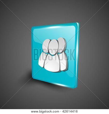 Glossy 3D web 2.0 web users symbol icon set. EPS 10.
