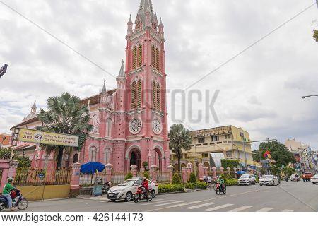 Ho Chi Minh, Vietnam - Oct 18, 2019 : Tan Dinh Church - The Pink Catholic Church In Ho Chi Minh City
