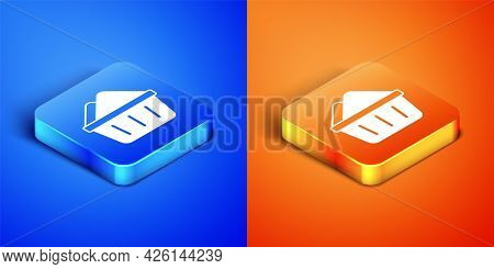 Isometric Plastic Basin With Soap Suds Icon Isolated On Blue And Orange Background. Bowl With Water.