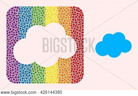 Dotted Mosaic Cloud Carved Pictogram For Lgbt. Colored Rounded Rectangle Mosaic Is Around Cloud Carv