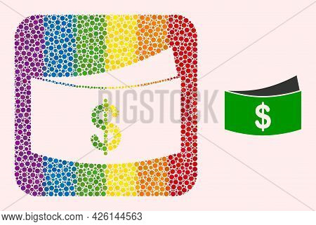 Dotted Mosaic Dollar Bills Subtracted Pictogram For Lgbt. Colored Rounded Rectangle Mosaic Is Around