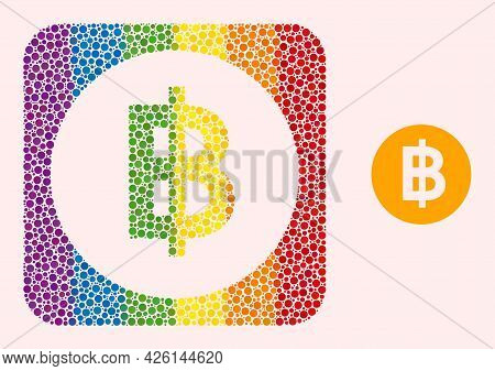 Dotted Mosaic Bitcoin Coin Stencil Icon For Lgbt. Rainbow Colored Rounded Rectangle Mosaic Is Around
