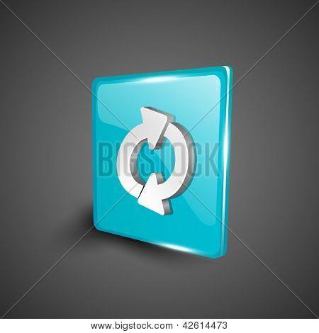 Glossy 3D web 2.0 refresh symbol icon set. EPS 10.