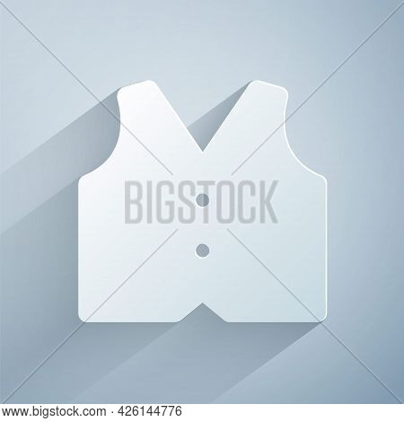 Paper Cut Waistcoat Icon Isolated On Grey Background. Classic Vest. Formal Wear For Men. Paper Art S