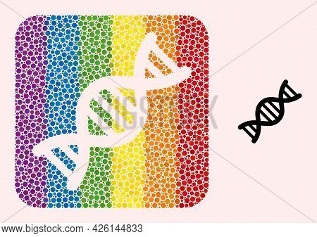 Dotted Mosaic Genome Molecule Hole Icon For Lgbt. Colored Rounded Square Mosaic Is Around Genome Mol