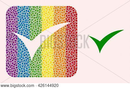 Dot Mosaic Apply Stencil Pictogram For Lgbt. Rainbow Colored Rounded Rectangle Mosaic Is Around Appl
