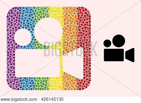 Dot Mosaic Cinema Camera Subtracted Icon For Lgbt. Rainbow Colored Rounded Rectangle Mosaic Is Aroun