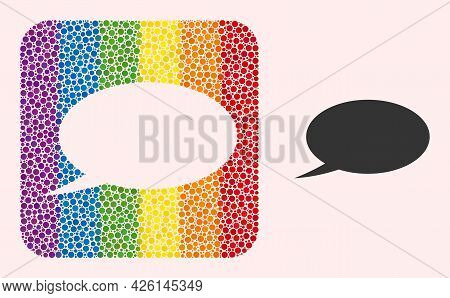Dotted Mosaic Chat Message Stencil Icon For Lgbt. Multicolored Rounded Square Mosaic Is Around Chat