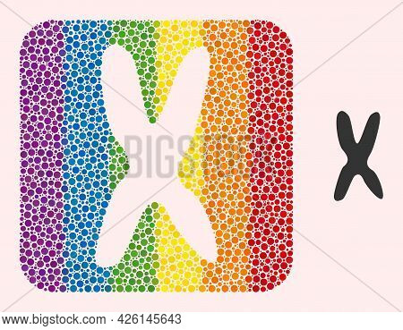 Dot Mosaic Chromosome Hole Pictogram For Lgbt. Multicolored Rounded Rectangle Mosaic Is Around Chrom