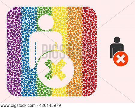 Dot Mosaic Delete Man Carved Pictogram For Lgbt. Rainbow Colored Rounded Rectangle Mosaic Is Around