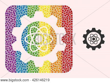 Dotted Mosaic Atomic Industry Carved Icon For Lgbt. Multicolored Rounded Rectangle Mosaic Is Around
