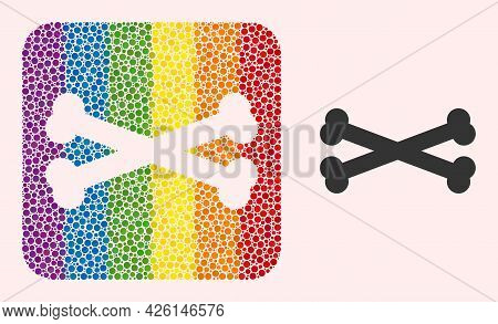 Dot Mosaic Bones Hole Icon For Lgbt. Rainbow Colored Rounded Square Mosaic Is Around Bones Hole. Lgb