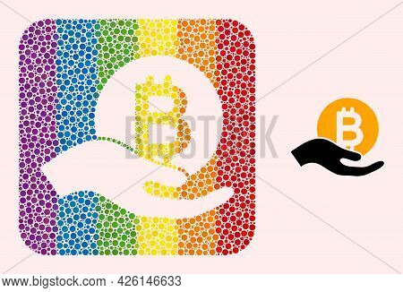 Dot Mosaic Bitcoin Donation Hand Carved Pictogram For Lgbt. Rainbow Colored Rounded Rectangle Mosaic
