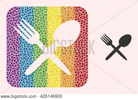 Dotted Mosaic Fork And Spoon Subtracted Pictogram For Lgbt. Colored Rounded Square Mosaic Is Around