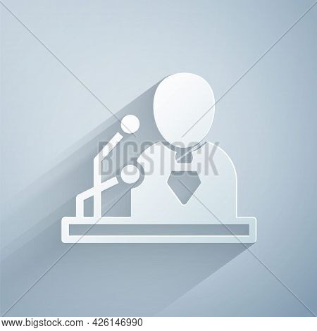 Paper Cut Breaking News Icon Isolated On Grey Background. News On Television. News Anchor Broadcasti