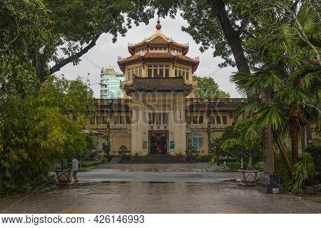 Ho Chi Minh, Vietnam - Oct 18, 2019 : Vietnam History Museum At Twilight Time In Ho Chi Minh, Vietna