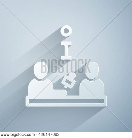 Paper Cut Interview With A Famous Person Icon Isolated On Grey Background. Television Or Internet Br