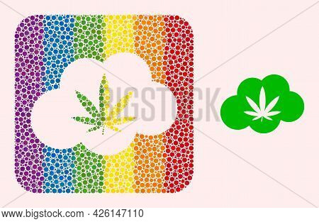 Dot Mosaic Cannabis Smoke Subtracted Pictogram For Lgbt. Color Rounded Square Mosaic Is Around Canna