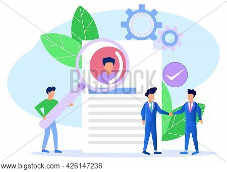 Vector Illustration, Employers Looking At Forms, Modern Concepts Of Prospective Employees, Infograph