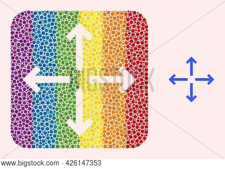 Dot Mosaic Expand Arrows Stencil Icon For Lgbt. Color Rounded Square Mosaic Is Around Expand Arrows